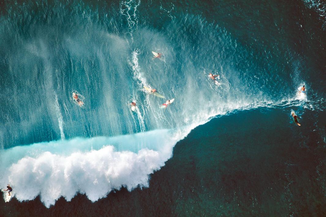 Surfers Behind Breaking Wave, Oahu, Hawaii, 1998.